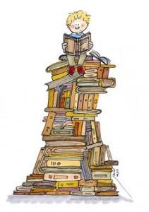 lecture pile de livres